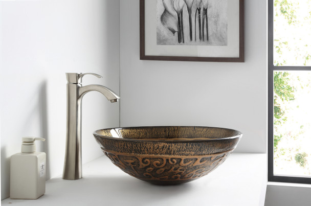 ANZZI Alto Series Deco-glass Vessel Sink In Lustrous Brown - LS-AZ079