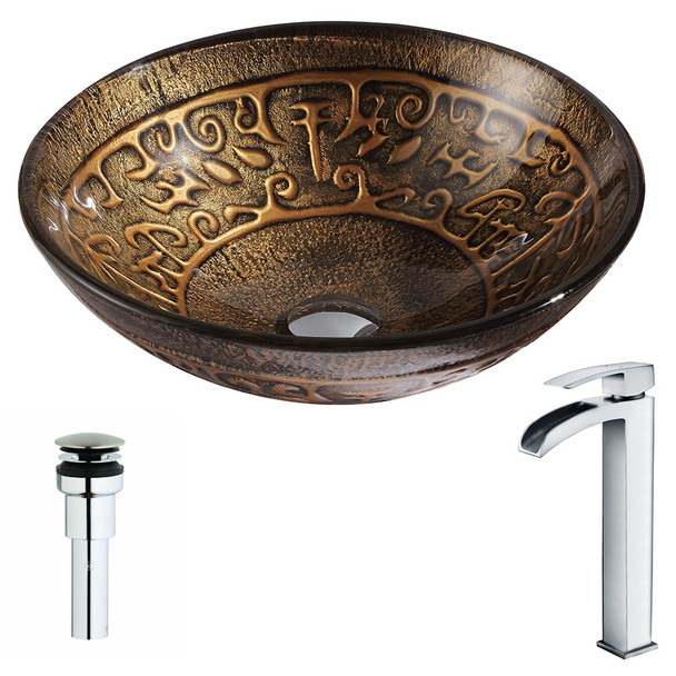 ANZZI Alto Series Deco-glass Vessel Sink In Lustrous Brown With Key Faucet In Polished Chrome - LSAZ079-097