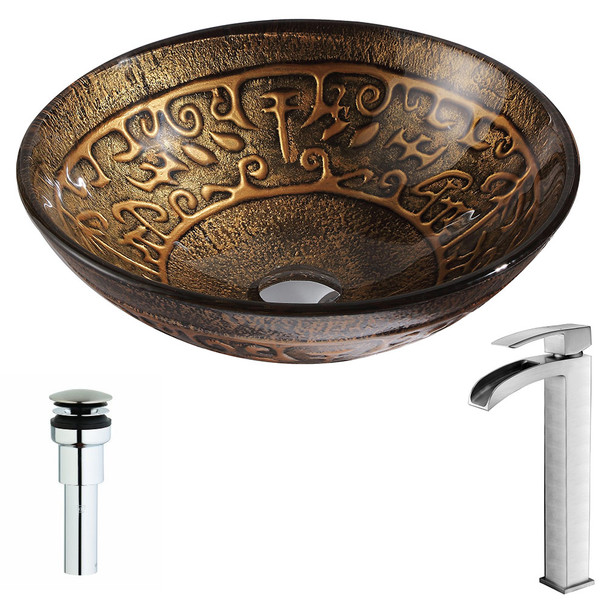 ANZZI Alto Series Deco-glass Vessel Sink In Lustrous Brown With Key Faucet In Brushed Nickel - LSAZ079-097B