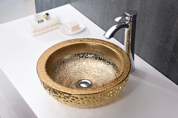 ANZZI Regalia Series Vessel Sink In Speckled Gold - LS-AZ179