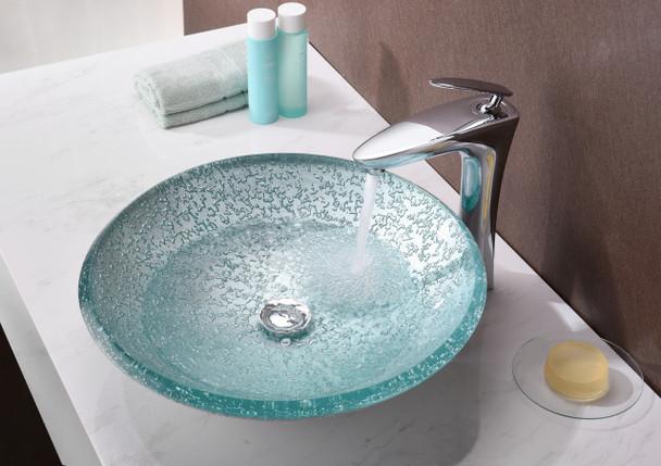 ANZZI Arc Series Vessel Sink In Clear Glass - LS-AZ208