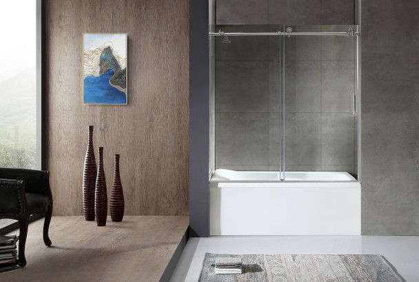 ANZZI Don Series 59 In. X 62 In. Frameless Sliding Tub Door In Brushed Nickel - SD-AZ17-01BN