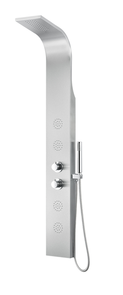 ANZZI Praire 64 In. Full Body Shower Panel With Heavy Rain Shower And Spray Wand In Brushed Steel - SP-AZ040