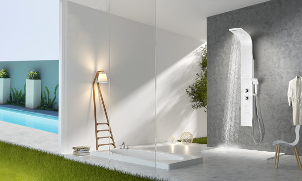 ANZZI Arena Series 60 In. Full Body Shower Panel System With Heavy Rain Shower And Spray Wand In White - SP-AZ055