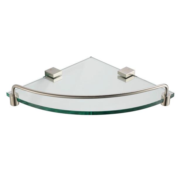 Fresca Ottimo Corner Glass Shelf - Brushed Nickel - FAC0448BN