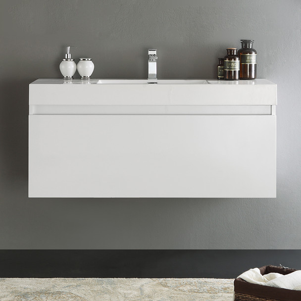 "Fresca Mezzo 48"" White Wall Hung Modern Bathroom Cabinet W/ Integrated Sink - FCB8011WH-I"