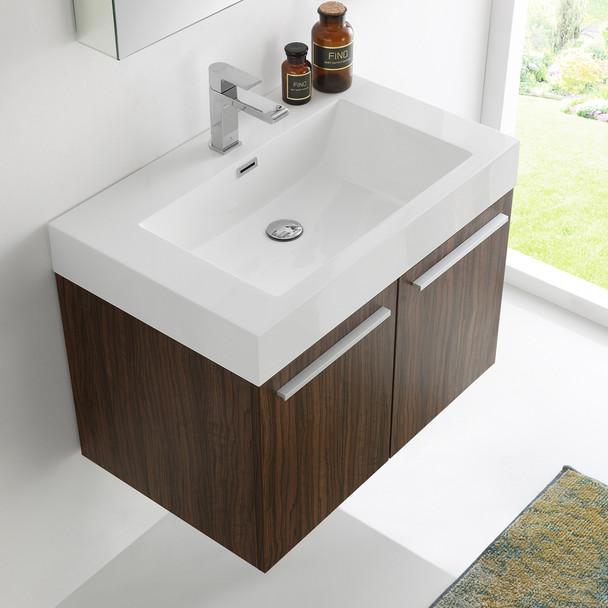 """Fresca Vista 30"""" Walnut Wall Hung Modern Bathroom Vanity W/ Medicine Cabinet - FVN8089GW"""