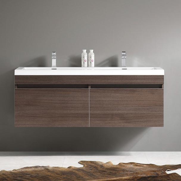 "Fresca Largo 57"" Gray Oak Modern Double Sink Bathroom Cabinet W/ Integrated Sinks - FCB8040GO-I"
