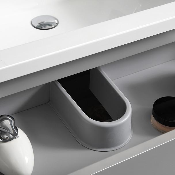 "Fresca Lazzaro 60"" Gray Free Standing Modern Bathroom Cabinet W/ Integrated Double Sink - FCB93-3030GR-D-I"