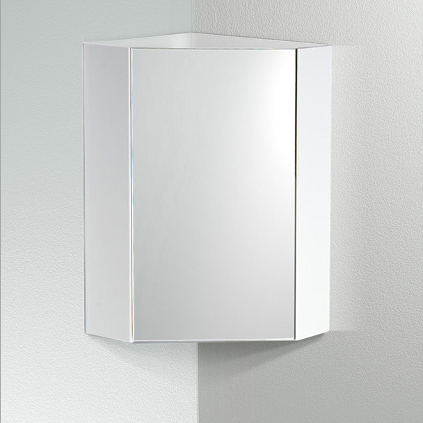 "Fresca Coda 18"" White Corner Medicine Cabinet W/ Mirror Door - FMC5084WH"