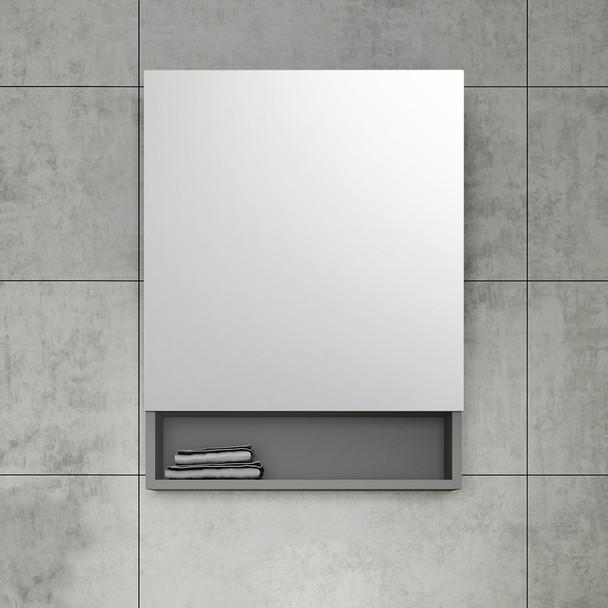 """Fresca 24"""" Gray Bathroom Medicine Cabinet W/ Small Bottom Shelf - FMC6124GR"""