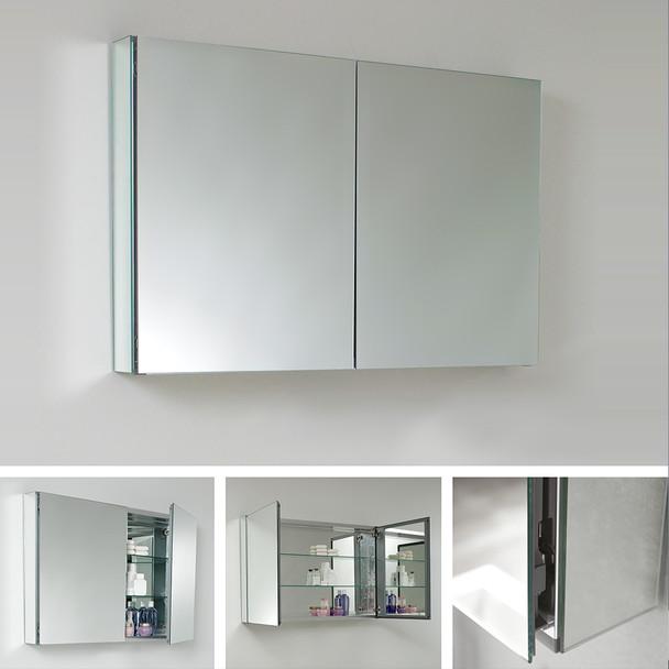 """Fresca 40"""" Wide X 26"""" Tall Bathroom Medicine Cabinet W/ Mirrors - FMC8010"""