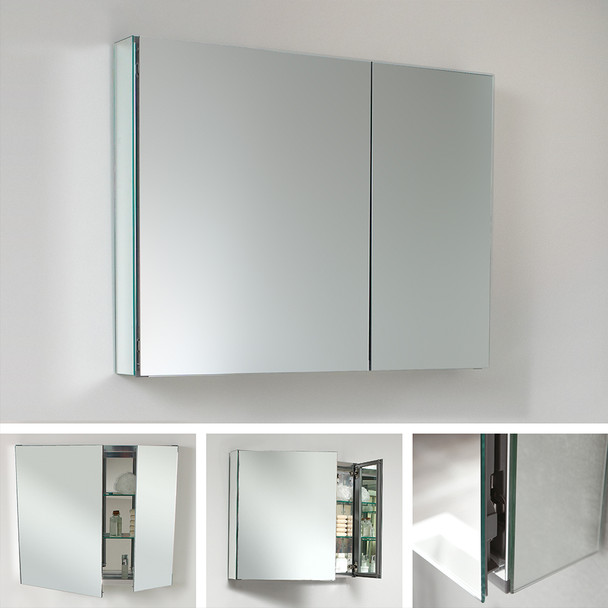 "Fresca 30"" Wide X 26"" Tall Bathroom Medicine Cabinet W/ Mirrors - FMC8090"