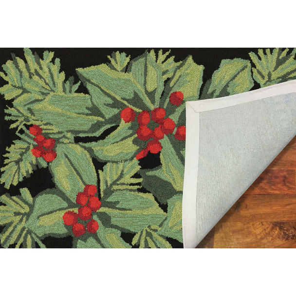 Liora Manne Frontporch 2419/48 Hollyberries Black Hand Tufted Area Rugs