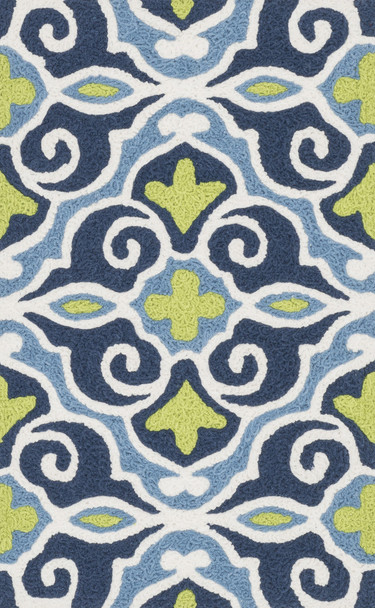 Loloi Angelou Han15 Blue / Green Hooked Area Rugs