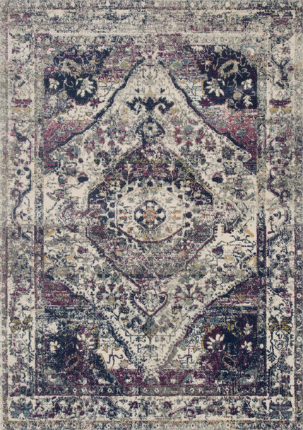 Loloi Zehla Zl-05 Ivory / Berry Power Loomed Area Rugs