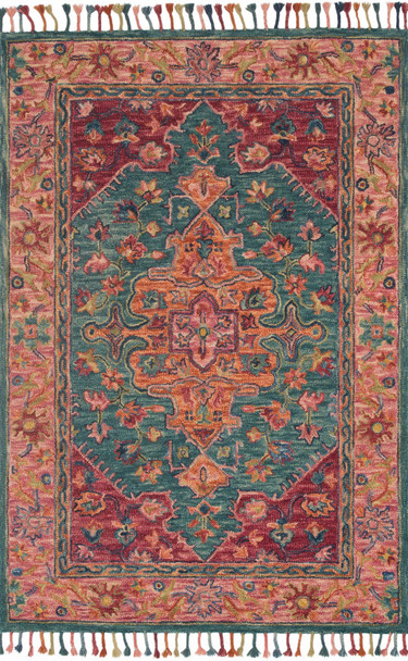 Loloi Zharah Zr-05 Teal / Berry Hooked Area Rugs