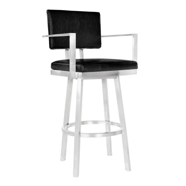 """Armen Living Balboa 26"""" Counter Height Barstool With Arms In Brushed Stainless Steel And Vintage Black Faux Leather"""