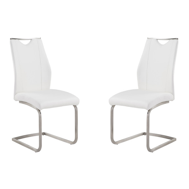 Armen Living Bravo Contemporary Dining Chair In White Faux Leather And Brushed Stainless Steel Finish - Set Of 2