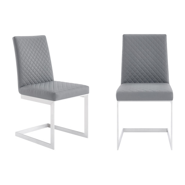 Copen Contemporary Dining Chair In Brushed Stainless Steel And Grey Faux Leather - Set Of 2