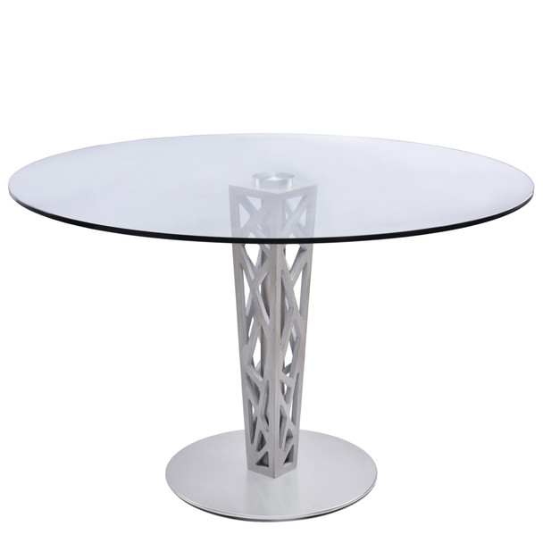 "Armen Living Crystal 48"" Round Dining Table In Gray Walnut Veneer Column And Brushed Stainless Steel Finish With Clear Tempered Glass Top"