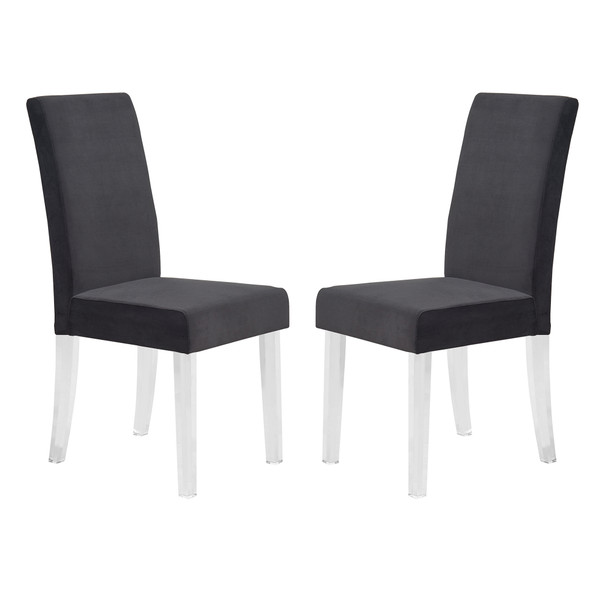 Armen Living Dalia Modern And Contemporary Dining Chair In Black Velvet With Acrylic Legs - Set Of 2