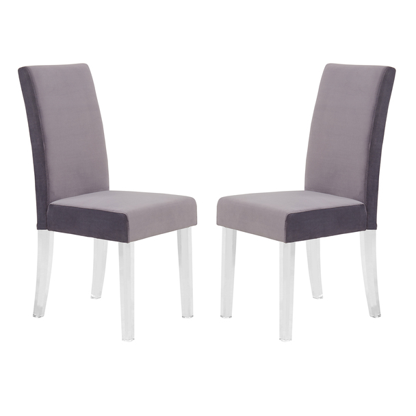 Armen Living Dalia Modern And Contemporary Dining Chair In Gray Velvet With Acrylic Legs - Set Of 2