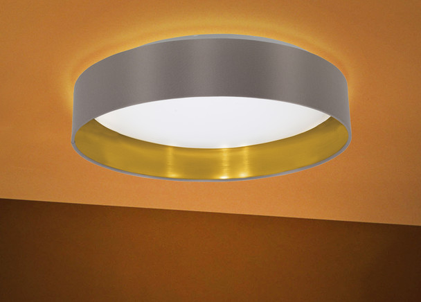 Eglo 1x18w Led Ceiling Light W / Cappucino & Gold Finsh & White Plastic Diffuser - 31625A