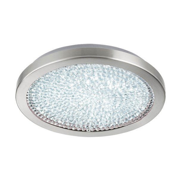 Eglo 1x19w Led Ceiling Light W/ Matte Nickel Finish & White Glass W/ Clear Crystals - 32047A
