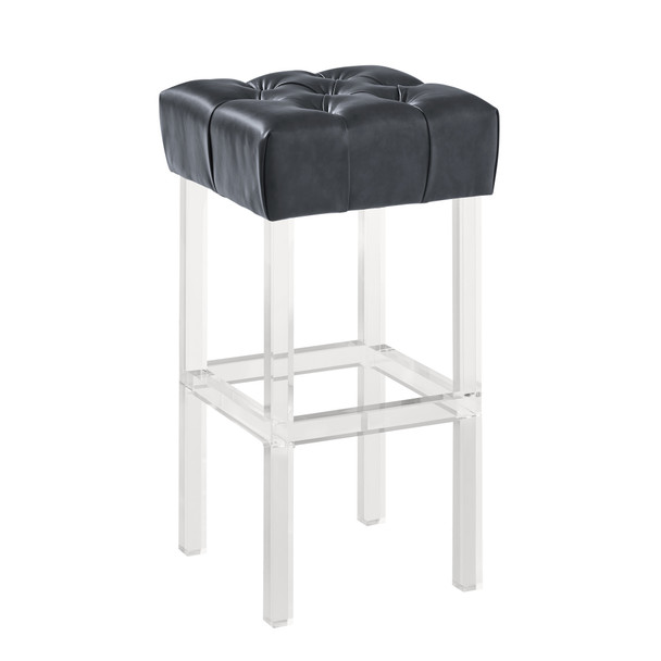 "Armen Living Kara Contemporary 30"" Bar Height Barstool In Grey Faux Leather With Acrylic Legs"