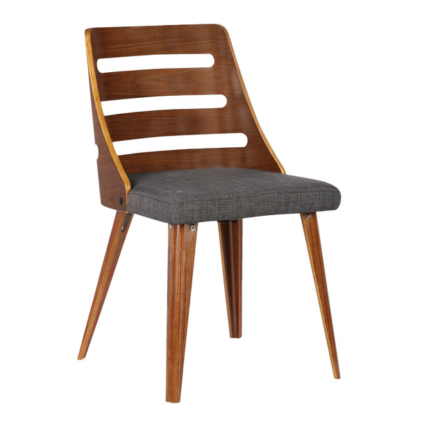 Armen Living Storm Mid-century Dining Chair In Walnut Wood And Charcoal Fabric