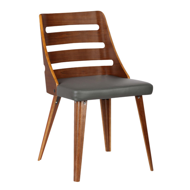 Armen Living Storm Mid-century Dining Chair In Walnut Wood And Gray Faux Leather