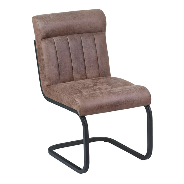 Armen Living Vancouver Metal Side Chair In Mineral Finish And Bandero Tobacco Fabric - Set Of 2