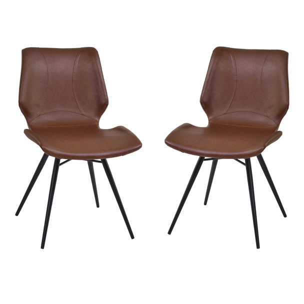 Armen Living Zurich Dining Chair In Vintage Coffee Faux Leather And Black Metal Finish - Set Of 2