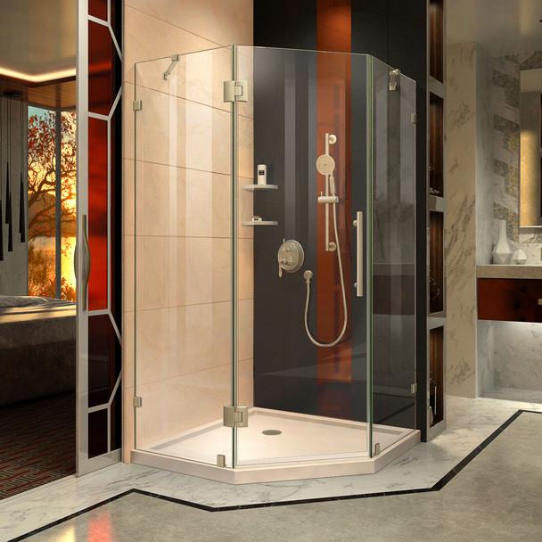 Dreamline Prism Lux 36 In. X 36 In. X 74 3/4 In. H Frameless Hinged Shower Enclosure And Slimline Shower Base Kit - DL-6050