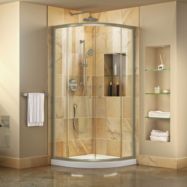 Dreamline Prime 33 In. X 33 In. X 74 3/4 In. H Corner Sliding Shower Enclosure And Slimline Shower Base Kit, Clear Glass - DL-6701-CL