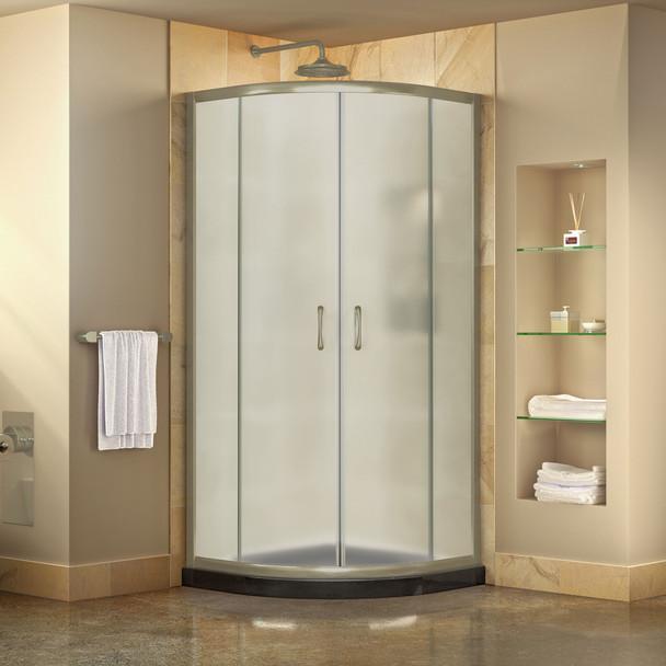 Dreamline Prime 33 In. X 33 In. X 74 3/4 In. Corner Sliding Shower Enclosure And Slimline Shower Base Kit, Frosted Glass - DL-6701-FR