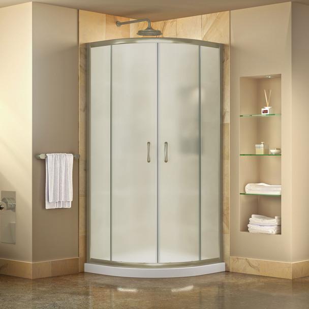 Dreamline Prime 38 In. X 38 In. X 74 3/4 In. Corner Sliding Shower Enclosure And Slimline Shower Base Kit, Frosted Glass - DL-6703-FR
