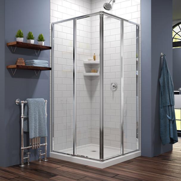 Dreamline Cornerview 42 In. D X 42 In. W X 74 3/4 In. H Framed Sliding Shower Enclosure And Slimline Shower Base Kit - DL-6709