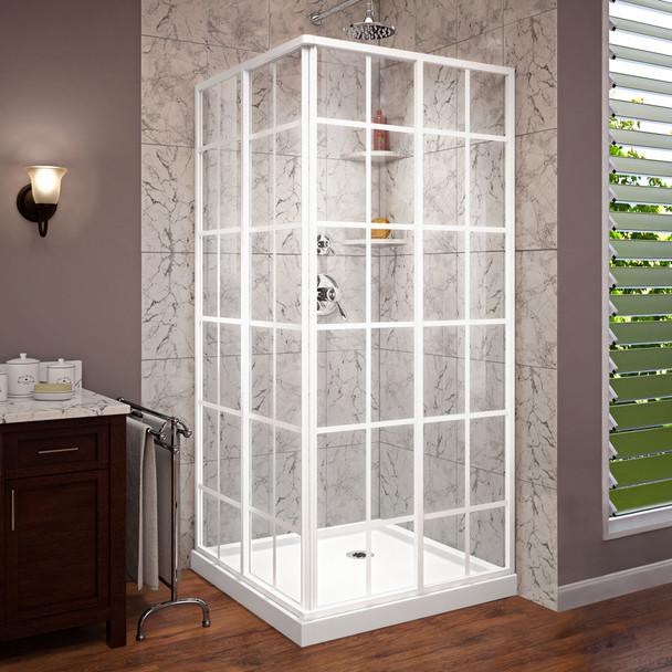 Dreamline French Corner 36 In. D X 36 In. W X 74 3/4 In. H Framed Sliding Shower Enclosure And Shower Base Kit - DL-6789-09