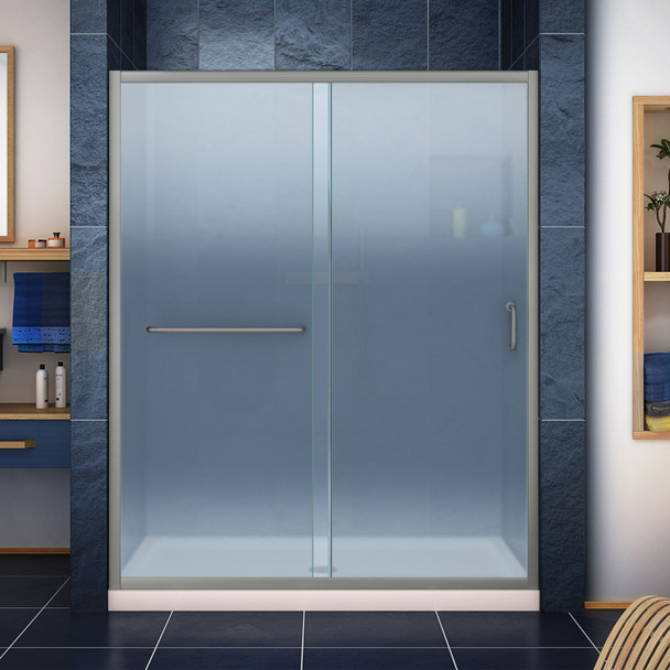 Dreamline Infinity-z 36 In. D X 60 In. W X 74 3/4 In. H Semi-frameless Sliding Shower Door And Slimline Shower Base Kit, Frosted Glass - DL-6973-FR