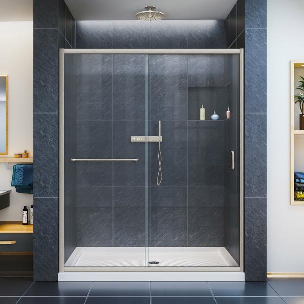Dreamline Infinity-z 32 In. D X 54 In. W X 74 3/4 In. H Semi-frameless Sliding Shower Door And Slimline Shower Base Kit, Clear Glass - DL-6974