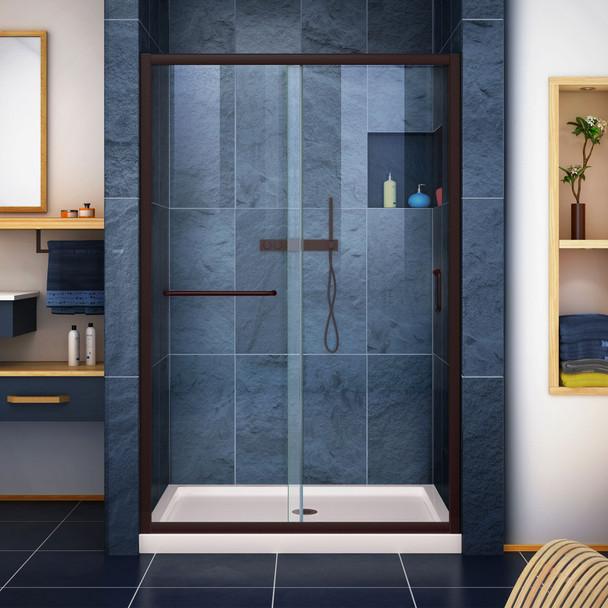 Dreamline Infinity-z 36 In. D X 48 In. W X 74 3/4 In. H Semi-frameless Sliding Shower Door And Slimline Shower Base Kit, Clear Glass - DL-6975-CL