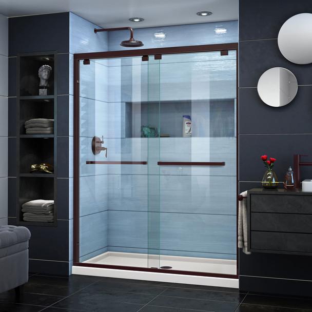 Dreamline Encore 32 In. D X 54 In. W X 78 3/4 In. H Semi-frameless Bypass Sliding Shower Door And Slimline Shower Base Kit - DL-7003C