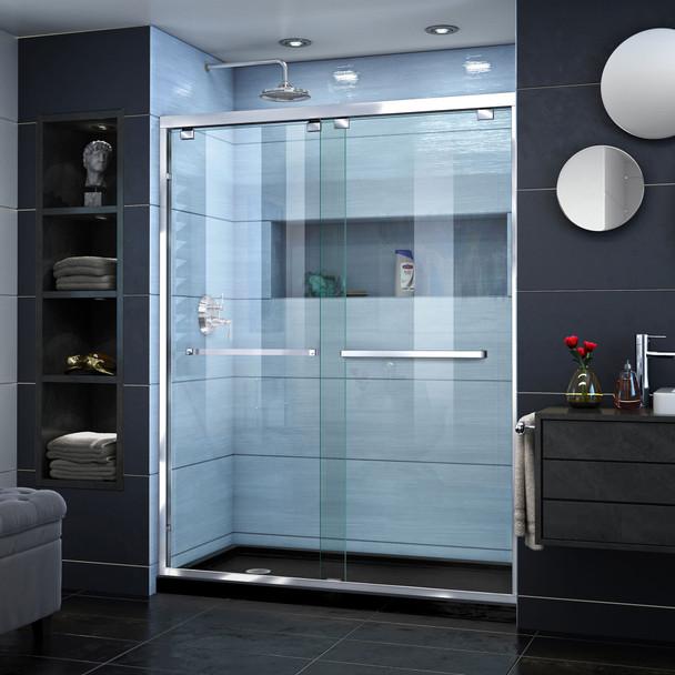 Dreamline Encore 30 In. D X 60 In. W X 78 3/4 In. H Semi-frameless Bypass Sliding Shower Door And Slimline Shower Base Kit - DL-7004