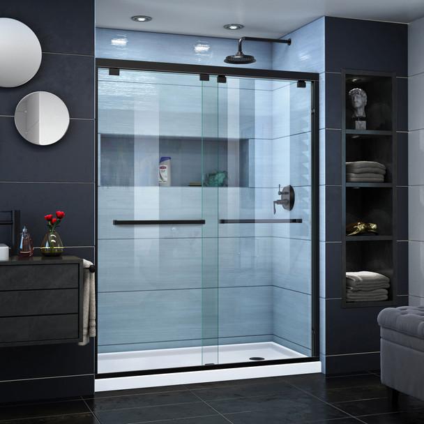 Dreamline Encore 32 In. D X 60 In. W X 78 3/4 In. H Semi-frameless Bypass Sliding Shower Door And Slimline Shower Base Kit - DL-7005