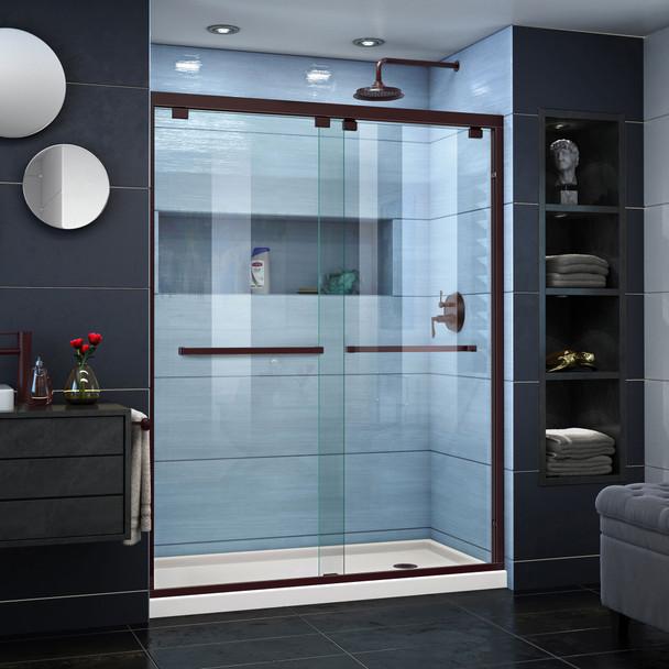 Dreamline Encore 34 In. D X 60 In. W X 78 3/4 In. H Semi-frameless Bypass Sliding Shower Door And Slimline Shower Base Kit - DL-7006