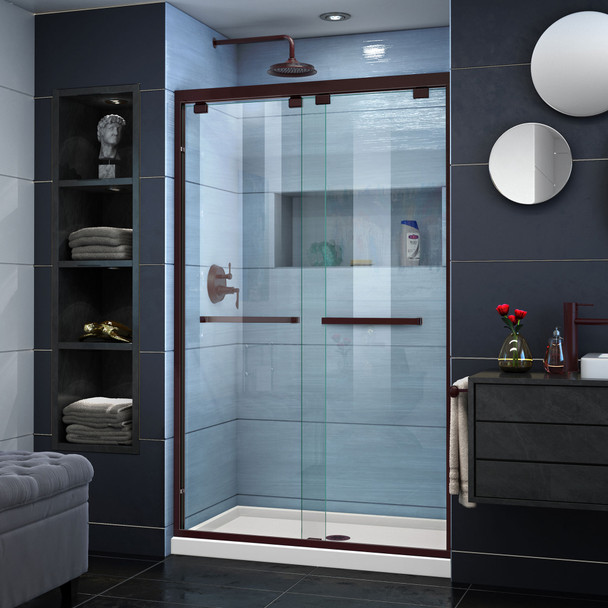 Dreamline Encore 32 In. D X 48 In. W X 78 3/4 In. H Semi-frameless Bypass Sliding Shower Door And Slimline Shower Base Kit - DL-7008