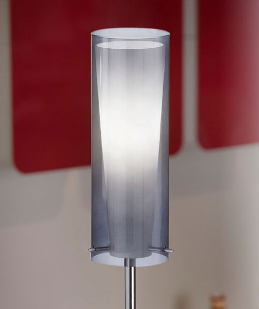 Eglo 1x100w Floor Lamp W/ Matte Nickel Finish & Smoked & Inner White Glass Surrounded By An Outer Smoked Glass - 90309A