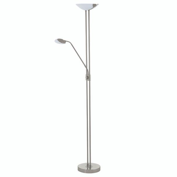 Eglo 2x2.5w + 1x20w Led Floor Lamp W/ Adjustable Reading Lamp W/ Matte Nickel Finish & White Glass - 93874A